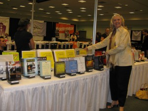 Pamela Jaye's seminar CDs and books at the Writers Store booth at Screenwriting EXPO 2008.