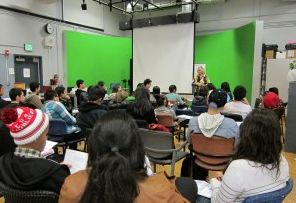Teaching media students at Grover Cleveland HS, Los Angeles
